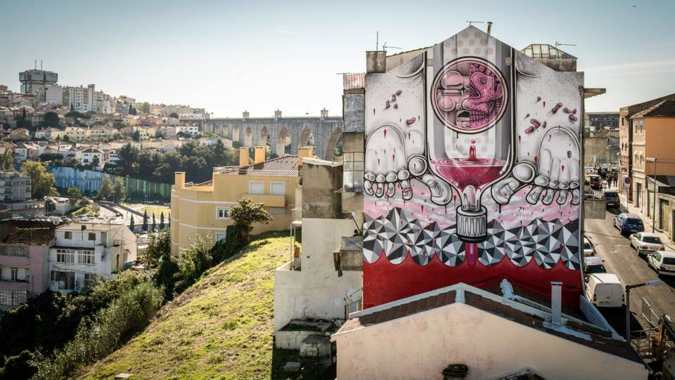 "Another mural ""Empty Spirits"" from How & Nosm for the Underdog project in Lisbon, Portugal. Photo via José Vicente / Stick2Target."