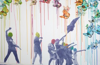 Defiance (Pussy Riot) 2013 Oil, Acrylic, Ink, and Velum on Canvas 48 x 60 inches