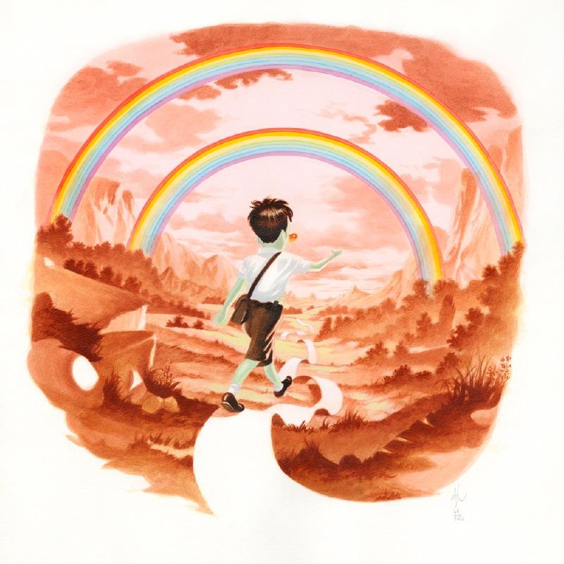 Double-Rainbow,-Acrylic-on-paper,-40,5-x-40,5-cm-(16-x-16-in),-2012