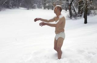 APTOPIX Man in Underwear Statue