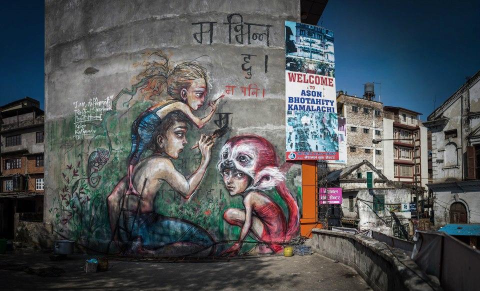 Herakut in Kathmandu, Nepal.