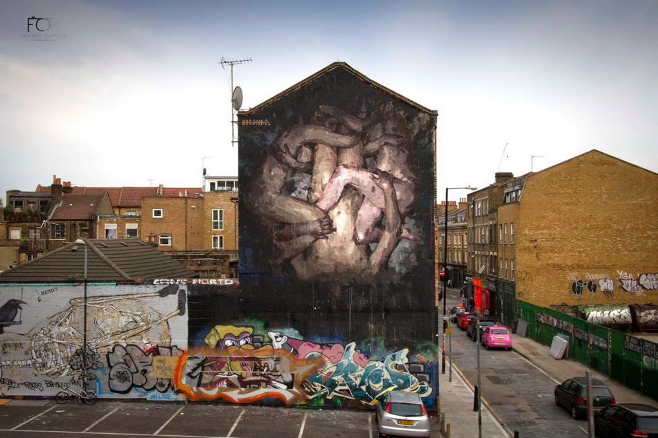 "Borondo - ""Triade"" in London, UK. Photography by Fabiano Caputo."