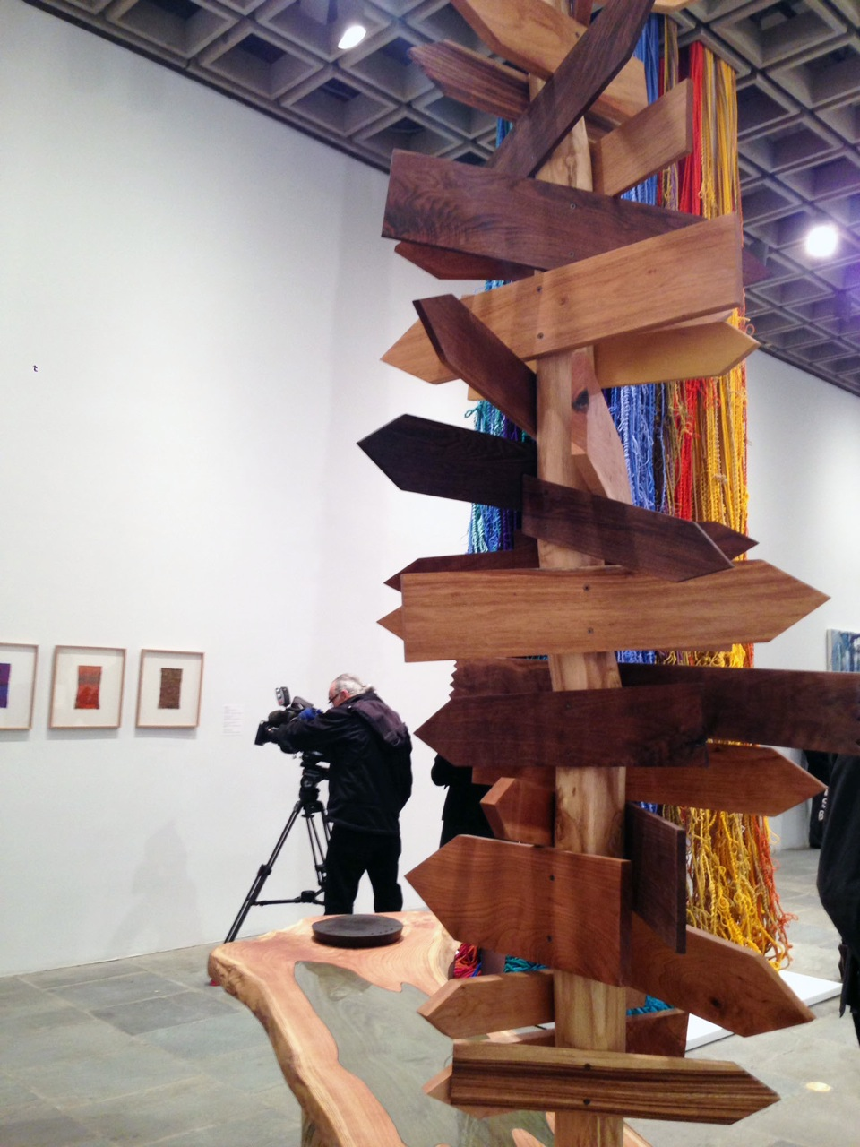 David Robbins (foreground) and Sheila Hicks (background) (curated by Michelle Grabner)