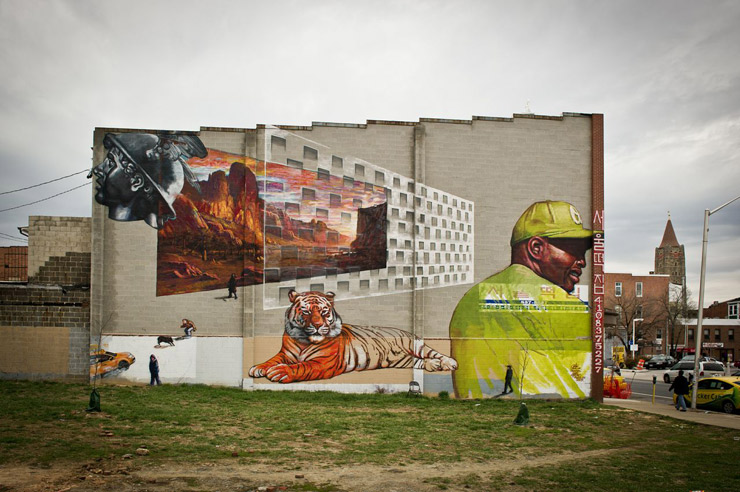 Gaia for Open Walls Balitmore 2. Photo by Geoff Hargadon via Brooklyn Street Art.
