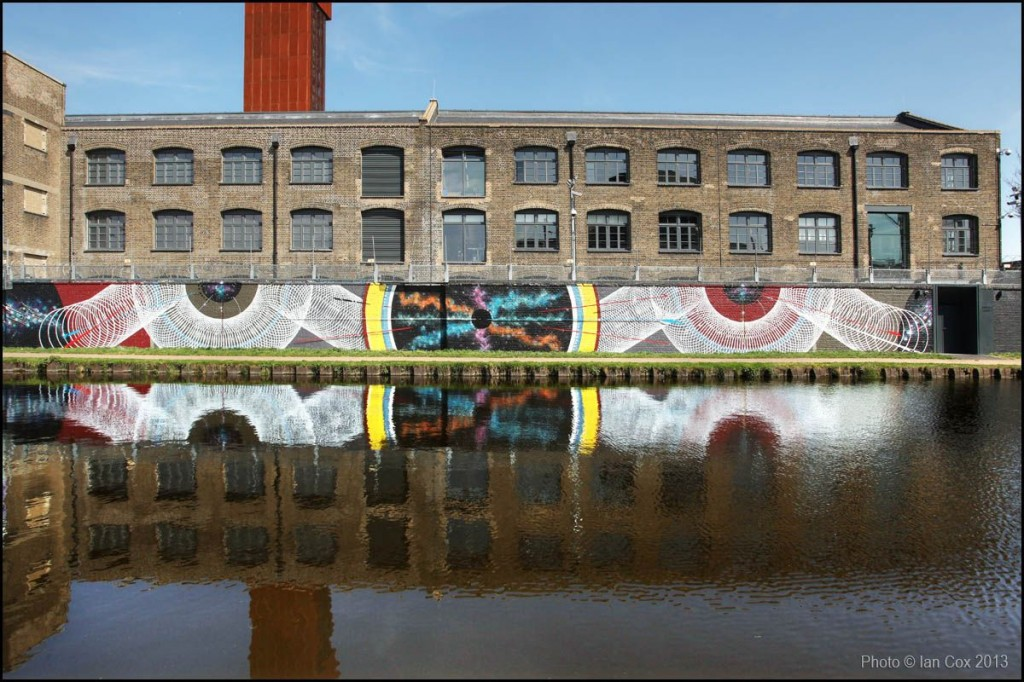 Mark Lyken and Moneyless for The Canals Project in London. Photo by Ian Cox, via Graffuturism.