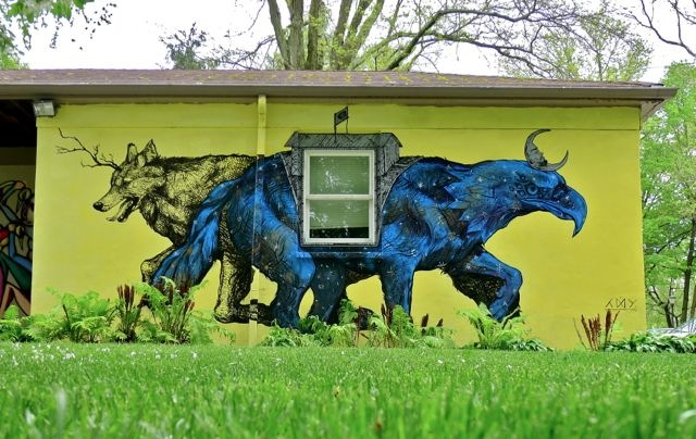 "LNY - ""Apex Predator"" at Haverford College outside of Philadelphia. Via Vandalog."