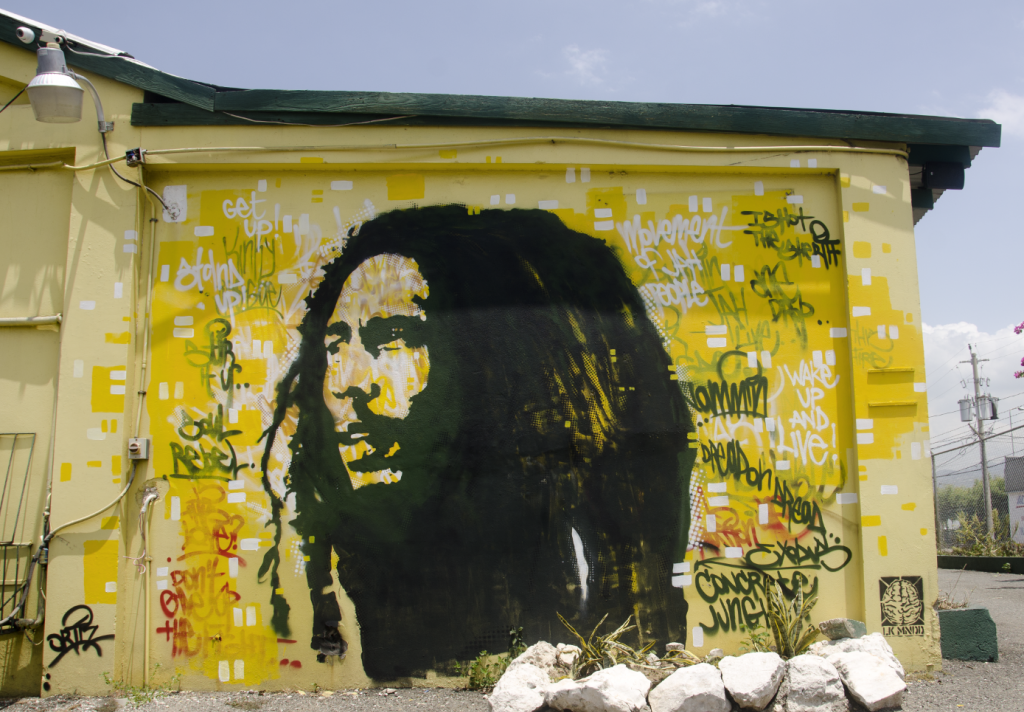 LK MNDD mural on the Tuff Gong Studios in Kingston, Jamaica, founded Bob Marley.