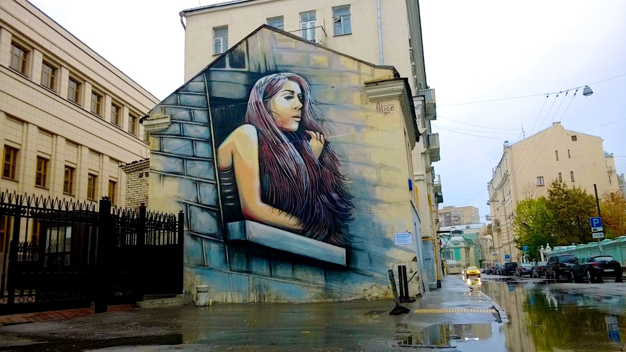 Alice Pasquini in Moscow, Russia for the MOST street art festival.