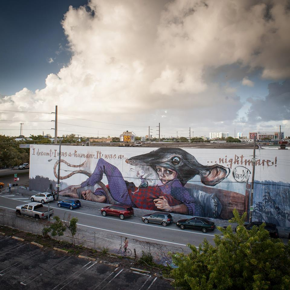 """Herakut in Miami. """"I Dreamt I Was A Human. It Was A Nightmare!"""" painted with the help of students of the """"HERE´S HELP – Recovery Through Education"""" program."""