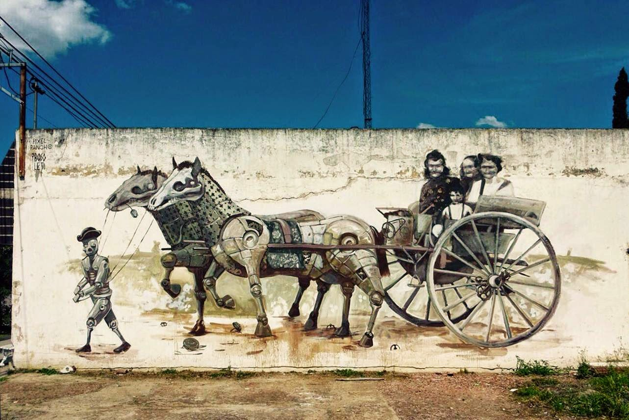 Pixel Pancho and Bosoletti in Armstrong, Argentina. Photo via StreetArtNews.