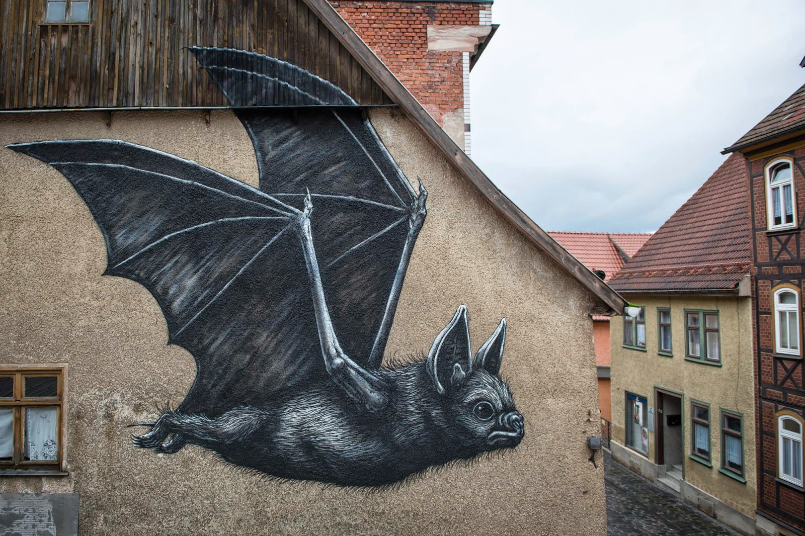 ROA for the WallCome project to paint on the streets of Schmalkalden in Germany. Photo via StreetArtNews.
