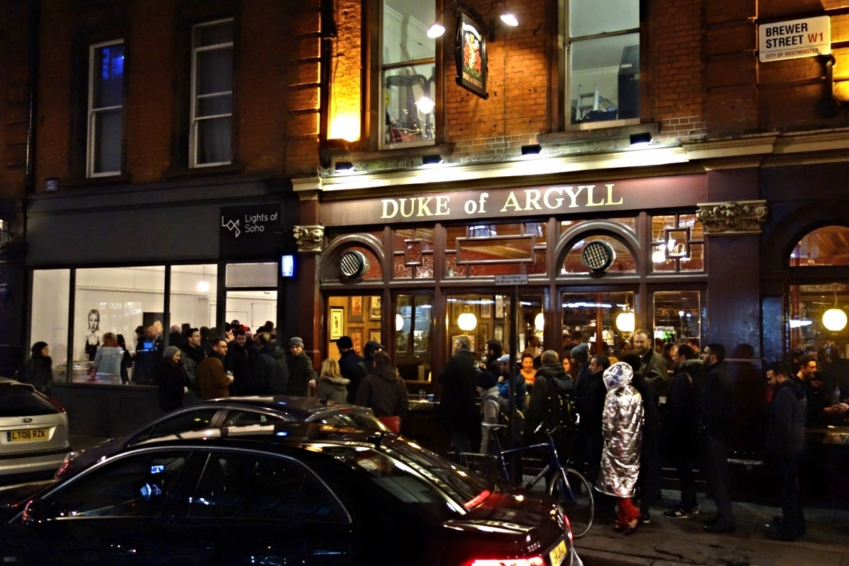 Day 1 (5 February): Opening night queue outside Dran's 'Public Execution' show.