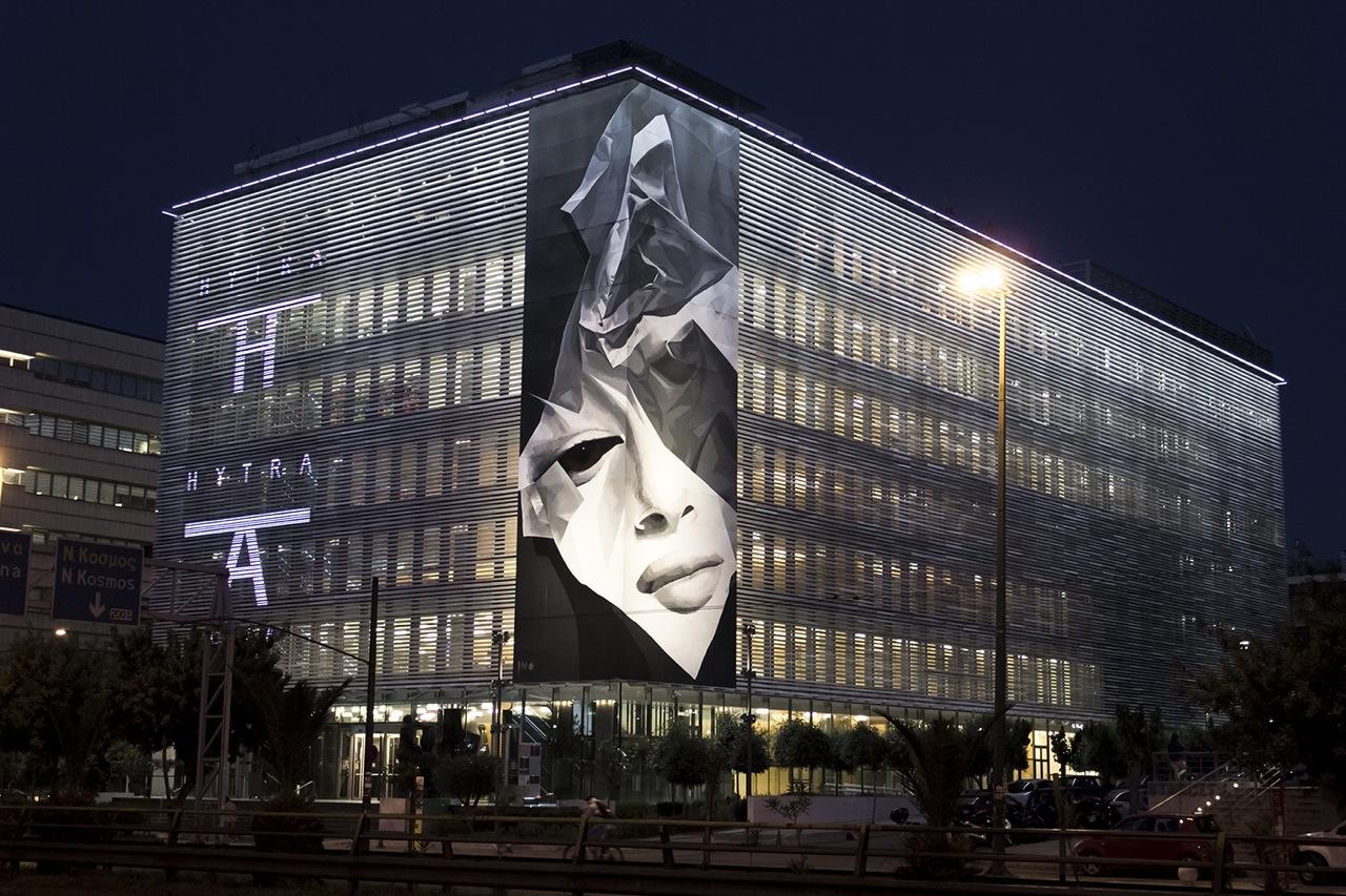 INO on the Onassis Cultural Center - Athens, Greece. Via Graffuturism.