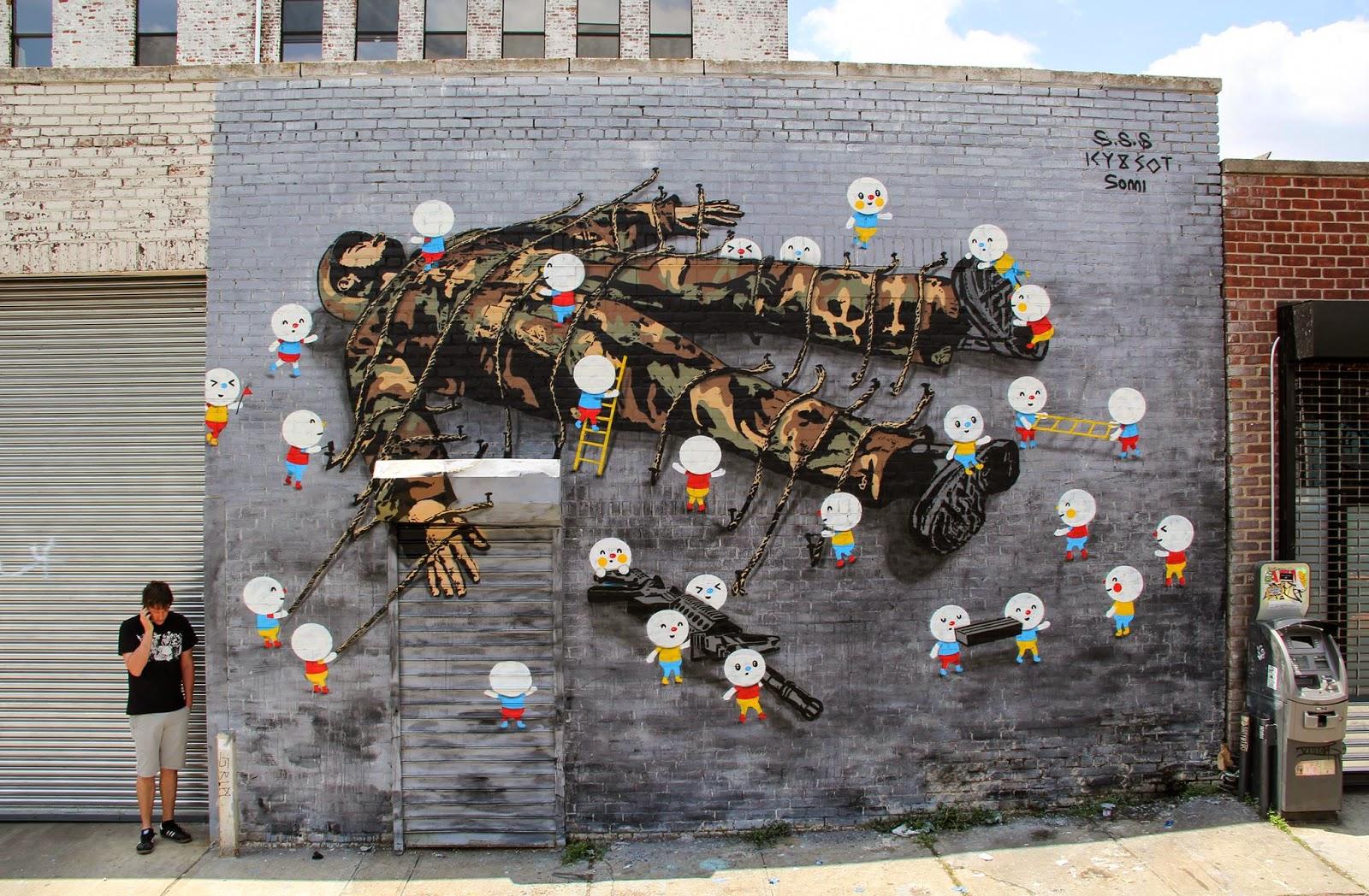 """Icy & Sot x Sonni - """"Gulliver"""" in New York CIty. Photo by Daniel Weintraub (via StreetArtNews)."""