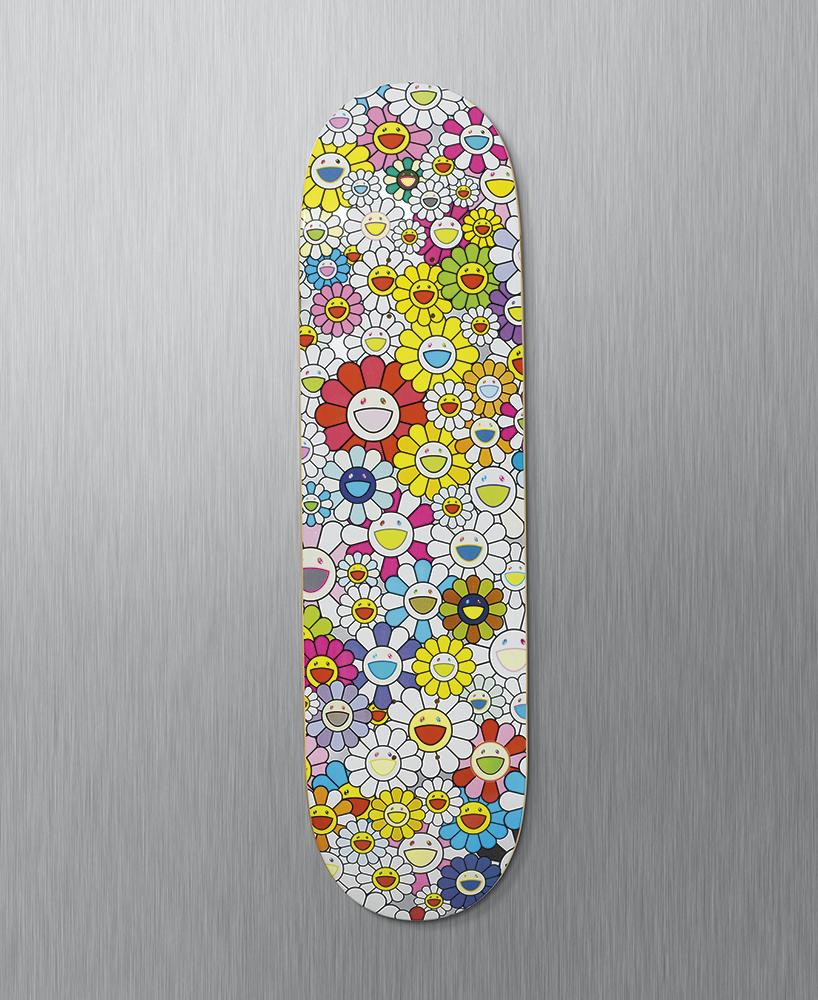 murakami-skate deck flowers