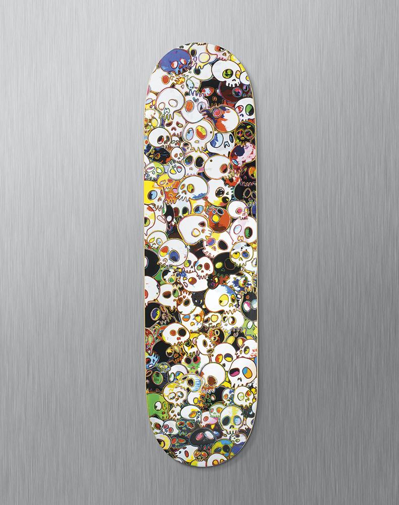 murakami-skate deck skulls