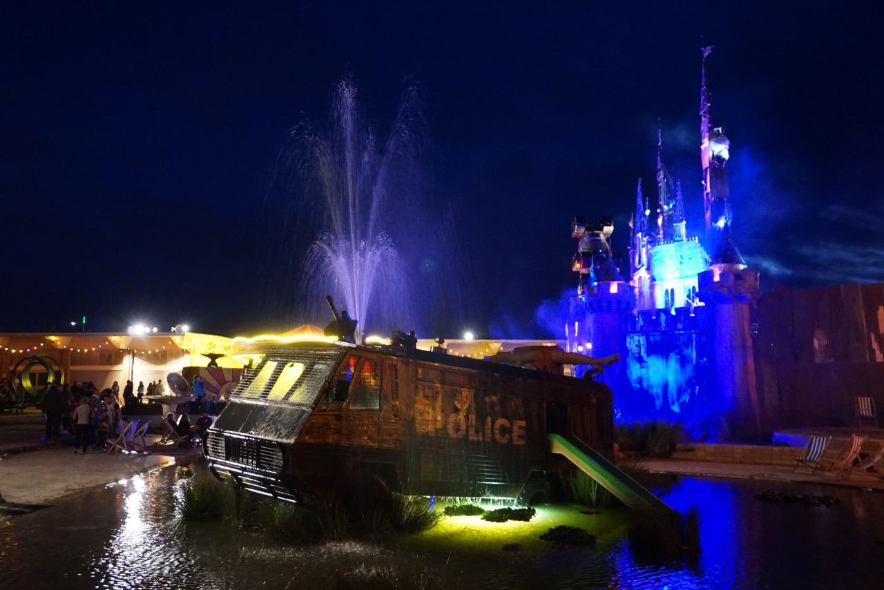 Banksy Dismaland night bemusement park Weston Super Mare AM  - 1