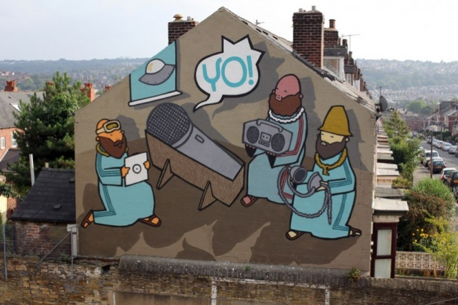 "Kid Acne - ""The Birth Of Hip Hop"" for the Festival of the Mind in Sheffield. Photo via 12OzProphet."