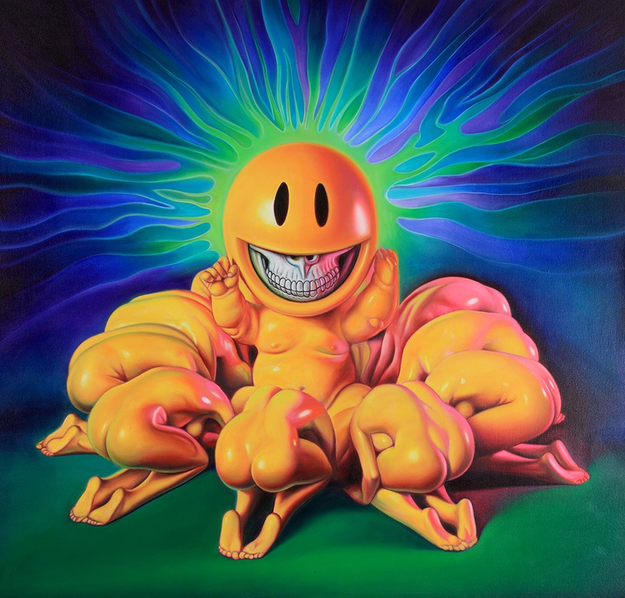RON-ENGLISH - NeoNature Exhibit - 'Grin God' oil on canvas, 50 x 50