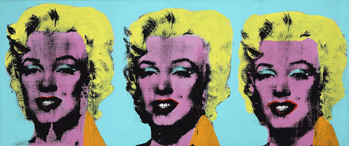 Andy Warhol American 1928–87Three Marilyns1962acrylic,silkscreen ink, and graphite on linen35.6 x 85.1 cmThe Andy Warhol Museum, Pittsburgh; Founding Collection, Contribution The Andy Warhol Foundation for the Visual Arts, Inc.©2015The Andy Warhol Foundation for the Visual Arts, Inc./ARS, New York. Licensed by Viscopy, Sydney. EXHI037687