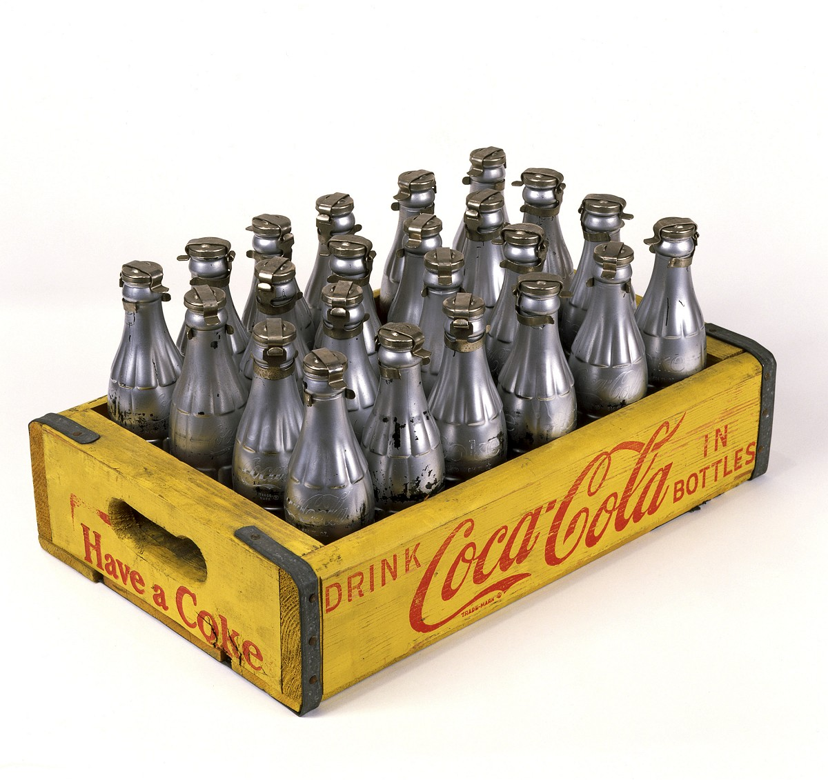 Andy WarholAmerican 1928–87You're In1967spray paint on glass bottles in printed wooden crateCrate: 20.3 x 43.2 x 30.5 cmBottles (each): 20.3 x 5.7 cmDiameter: 18.7 cmThe Andy Warhol Museum, Pittsburgh; Founding Collection, Contribution The Andy Warhol Foundation for the Visual Arts, Inc.© 2015 The Andy Warhol Foundation for the Visual Arts, Inc./ARS, New York. Licensed by Viscopy, Sydney. EXHI037609