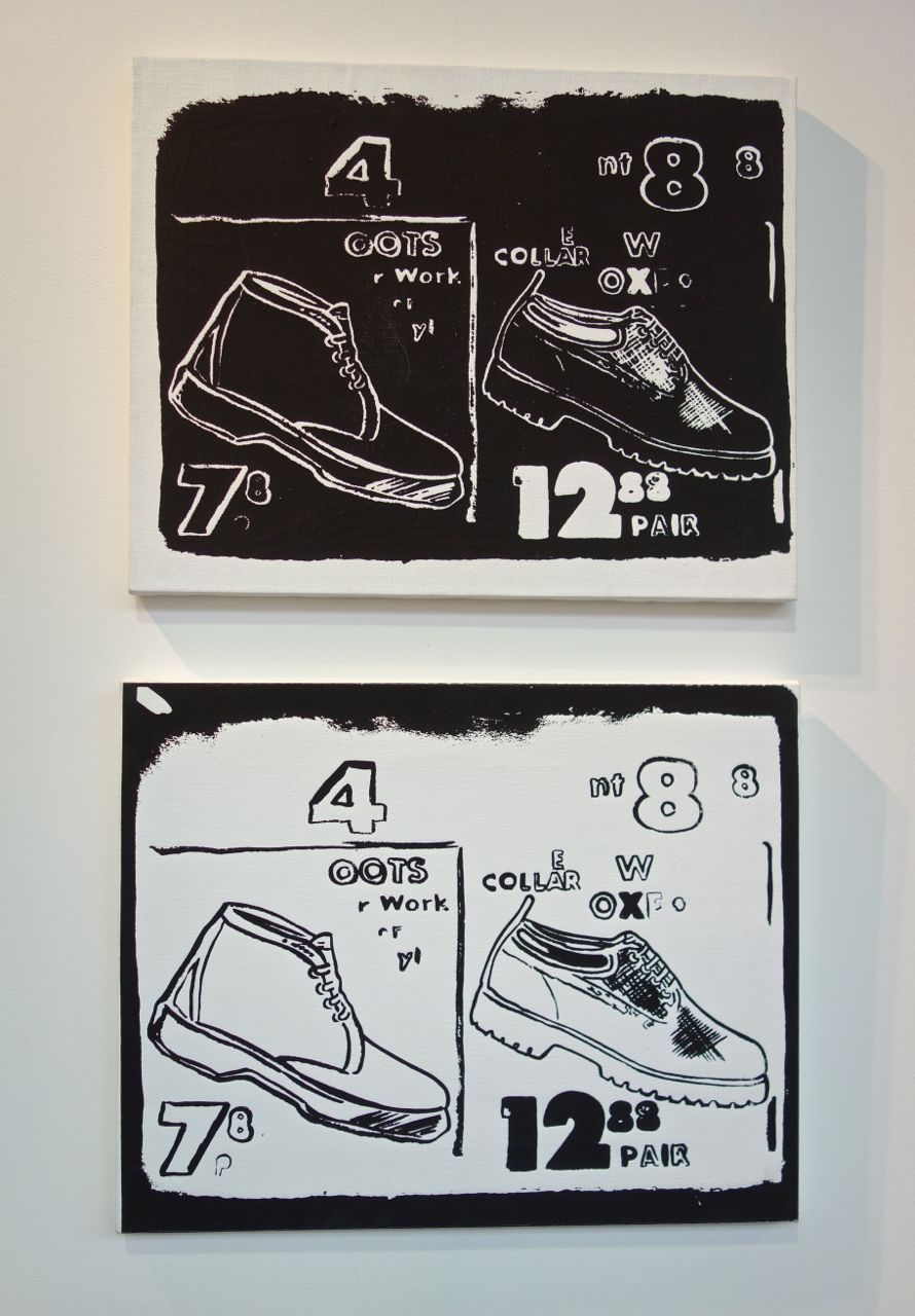 Andy Warhol, 'Work Boots (Negative)' and 'Work Boots (Positive)', ca. 1985–1986, Acrylic and silkscreen ink on canvas, each 40.6 x 50.8 cm, Galerie Alexis Lartigue (France)
