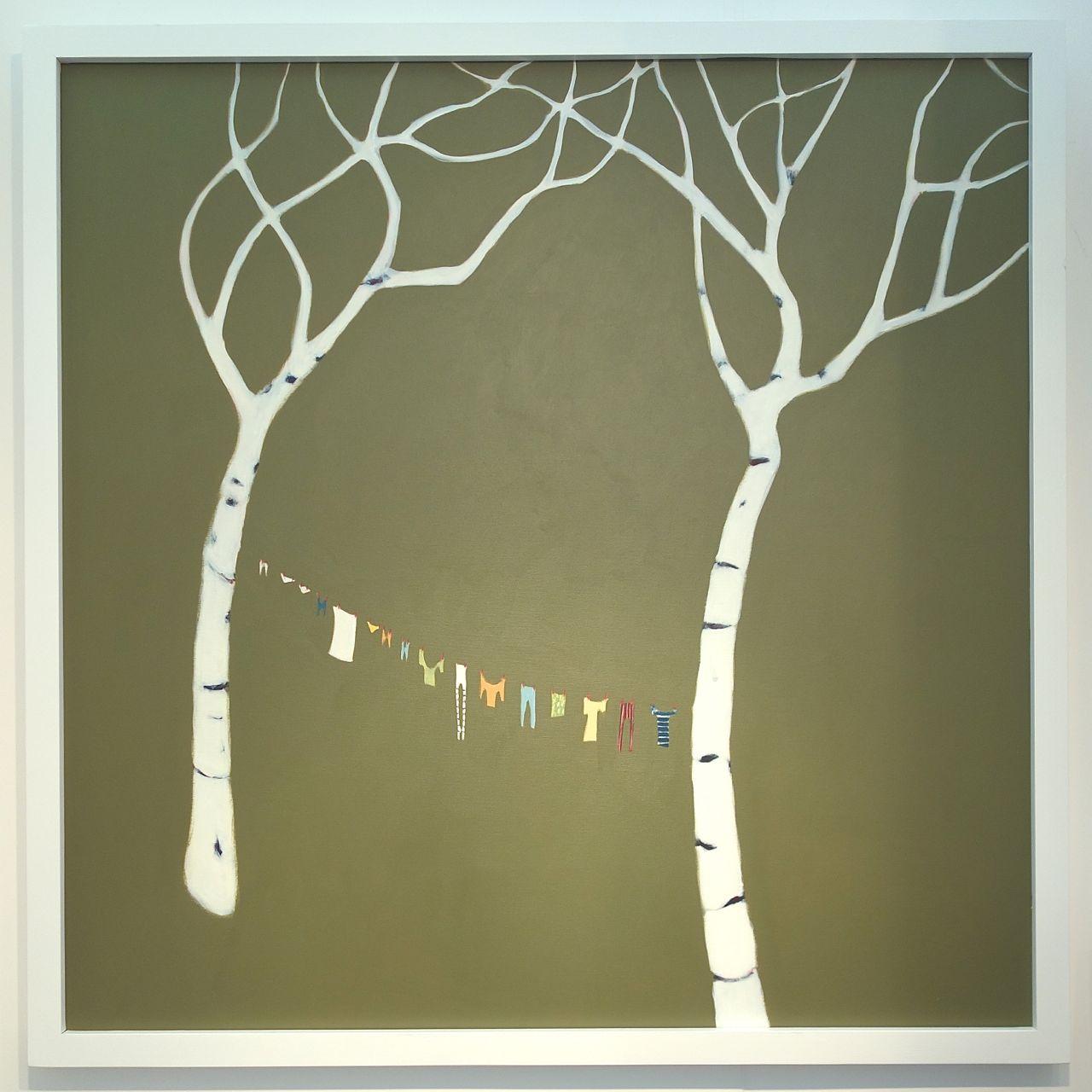 Beth Richardson, 'Birches', 2016, Acrylic on canvas, 128 x 128 cm. GreenStage Gallery (Worcester)