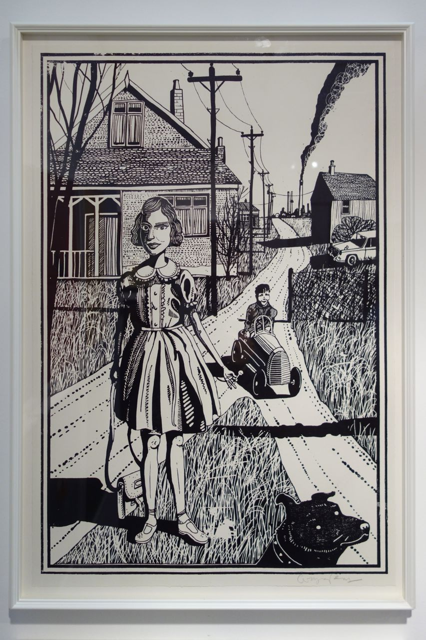 Grayson Perry, from the series 'Six Snapshots of Julie', 2015, Woodcut with lithographic underlay, 75.5 x 48.5 cm, Manifold Editions (London)