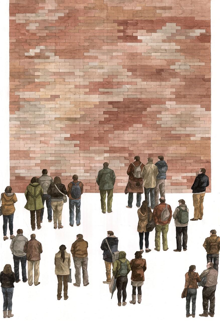 Dorothy Circus Gallery_Hyuro_Contemplación del paisaje urbano (Urban landscape contemplation)_Watercolor on paper_100x70cm