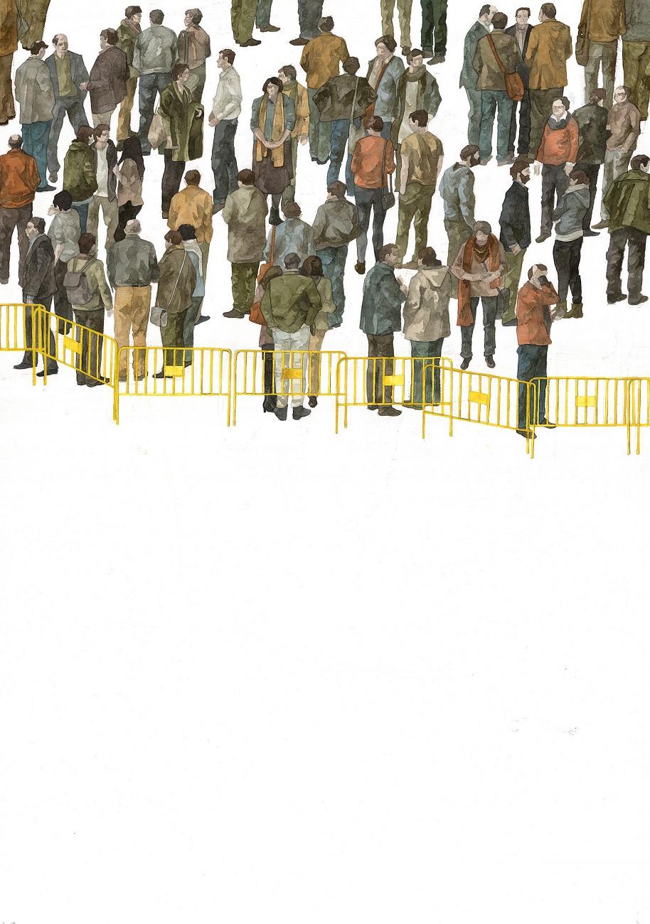 Dorothy Circus Gallery_Hyuro_Delimitacion del espacio publico (Delineation of public space)_Watercolor on paper_100x70 cm copy