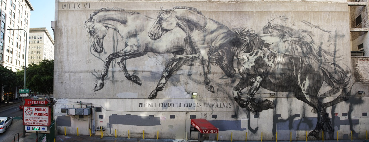 "Faith47 - ""who will guard the guards themselves"" in downtown Los Angeles. Arranged in collaboration with Branded Arts."