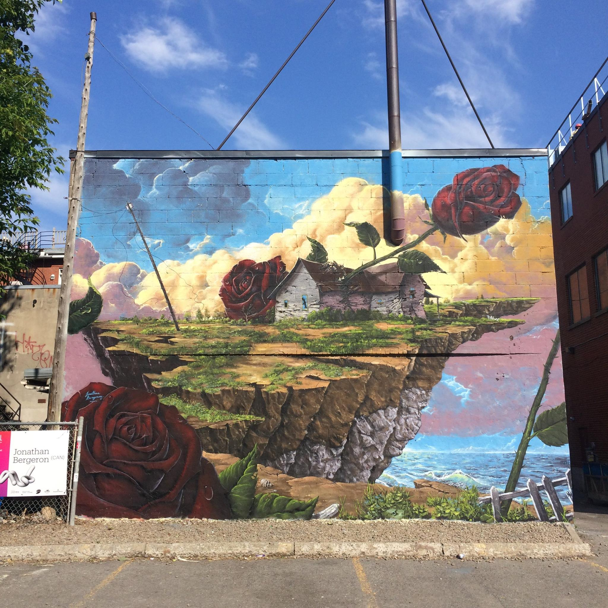 Jonathan Bergeron painted wall for Mural Festival in Montreal.
