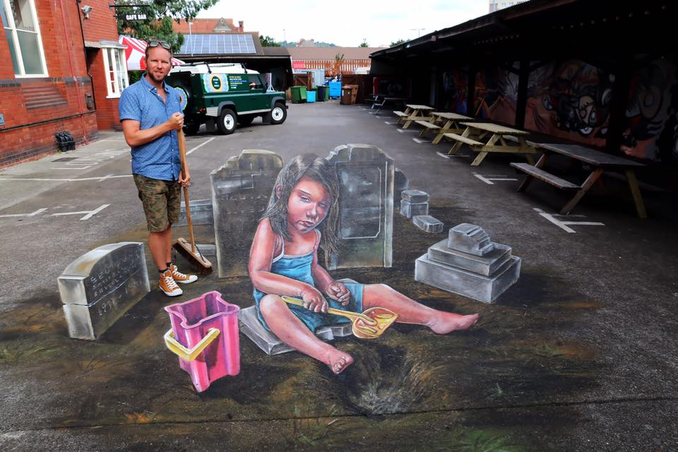 """Leon Keer - """"Empty Hole"""" at Upfest in Bristol."""