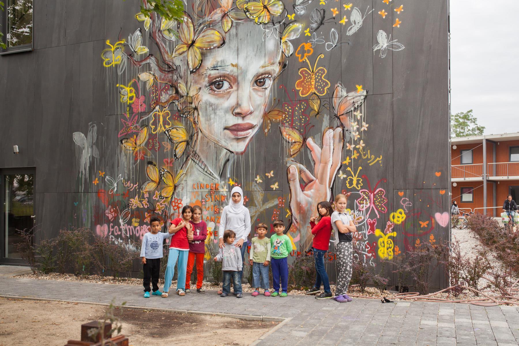 Herakut for a Street Art workshop in Refugee Asylum in Potsdam, Germany.