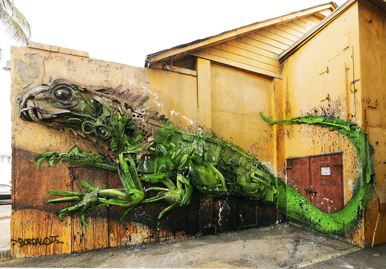 "Bordalo II - ""Yuwana"" in San Nicolaas, Aruba, for the Aruba Aruba Art Fair."
