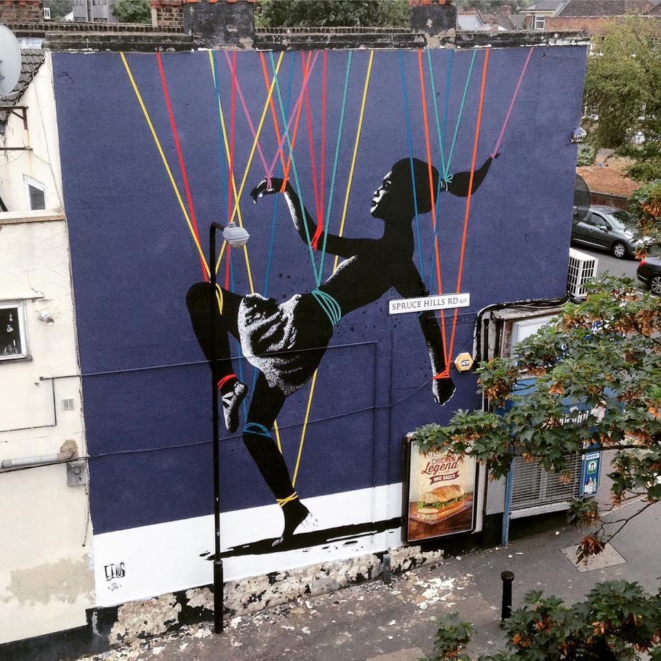 "Eelus in London - ""Trip The Light Fantastic"" for Wood Street Walls."