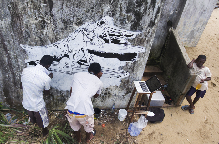 Faile collaborating with locals in Liberia.