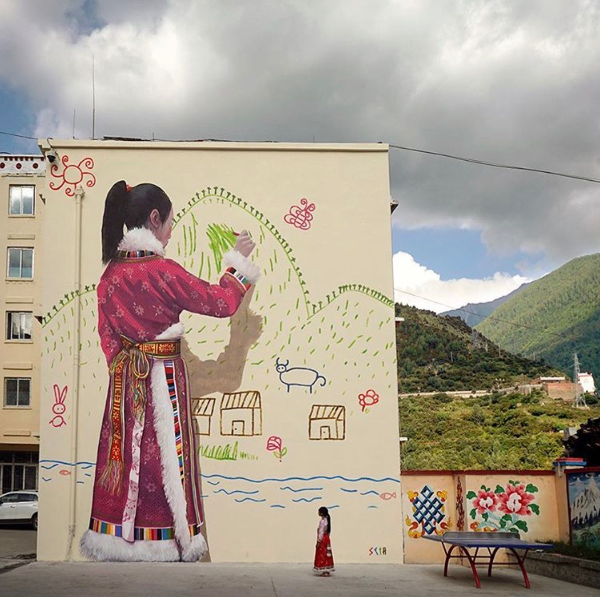 "Seth Globepainter - ""My Mountain"" - inspired by drawings of the Tibetan children of Chang Ping primary school in Sichuan, China."