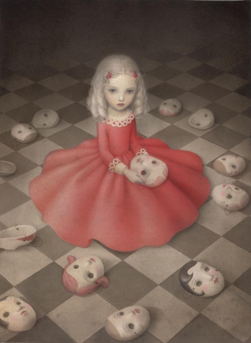 Nicoletta Ceccoli 'A Girl Hides Secrets' (acrylic and colored pencil on paper, 11.5 x 15.3 inches)