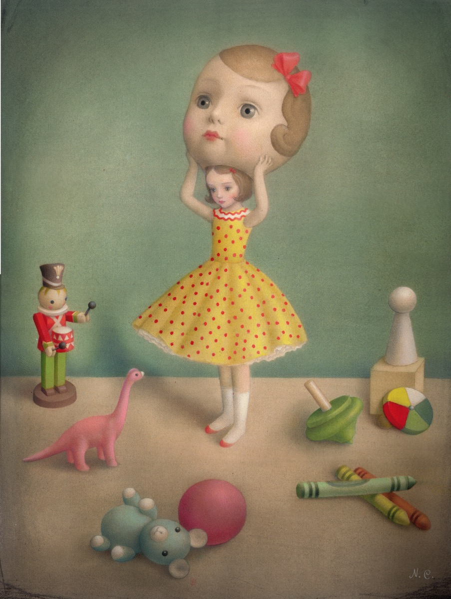 Nicoletta Ceccoli 'In Disguise' (acrylic and colored pencil on paper, 11.5 x 15.3 inches)