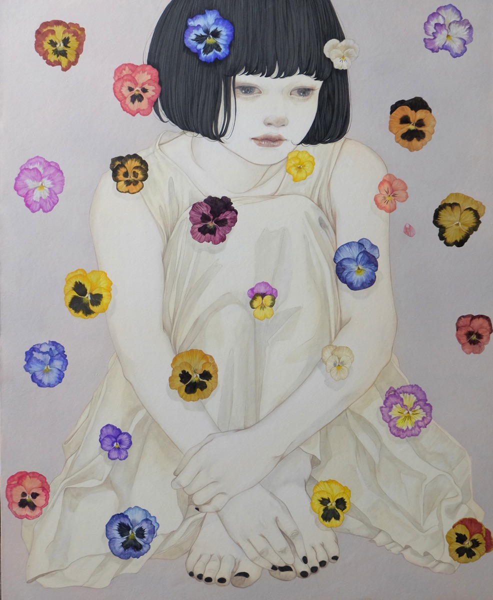 Yuka Sakuma 'Bouquet' (ink on paper (black ink rock paint on hemp paper), 25 x 20 inches)