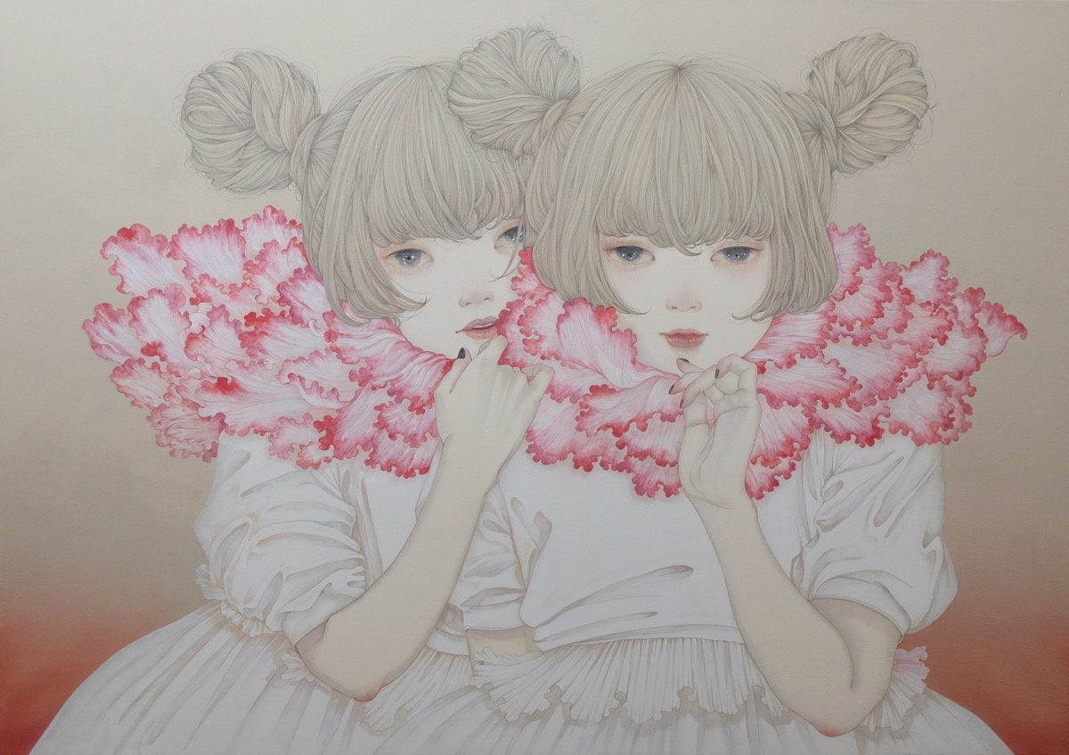 Yuka Sakuma 'Cherry' (ink on paper (black ink rock paint on hemp paper), 39.4 x 28.6 inches)
