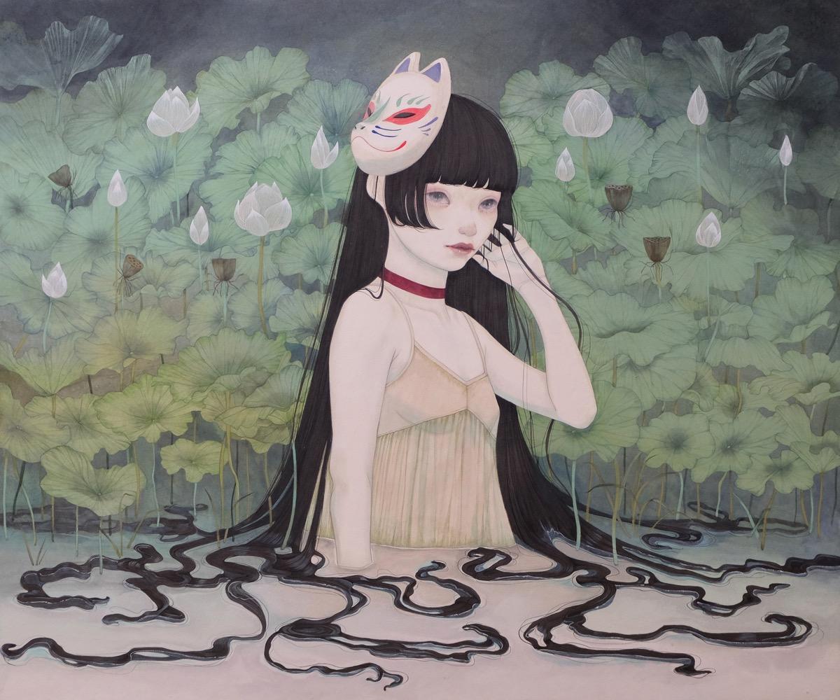 Yuka Sakuma 'Mask' (ink on paper (black ink rock paint on hemp paper), 28.6 x 23.9 inches)