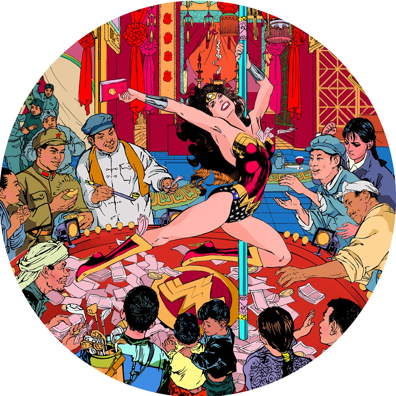 Jacky Tsai 'The Pole Dancer' (acrylic and gold leaf on linen; 51 inches diameter)