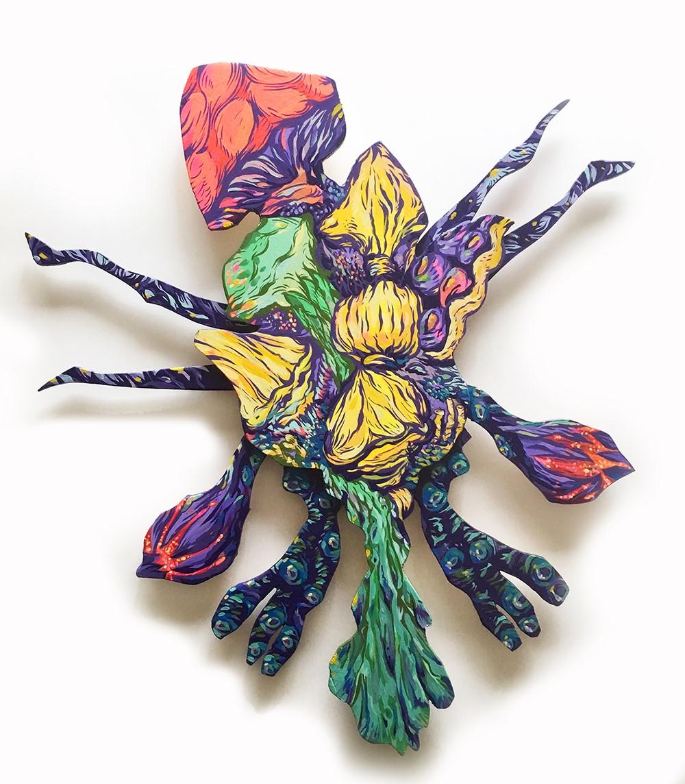 Attaboy 'Quagmire Shroom Cluster' (acrylic on layers of hand cut wood - 19 ¾ x 17 x ¾ inches)